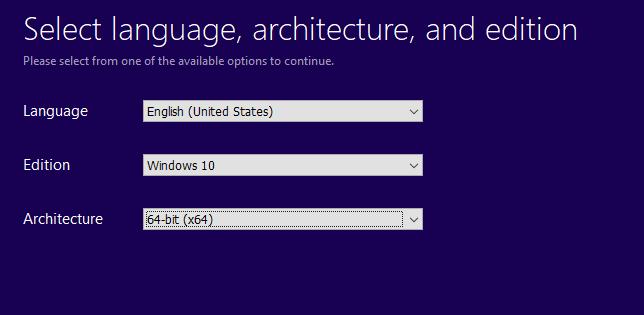 3,3 Chọn ngôn ngữ, Phiên bản và Nền tảng 64bit hay 32bit