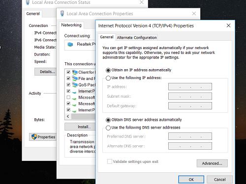 Thiết lập để Windows tự động nhận địa chỉ IP từ router.
