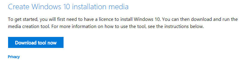 Tải và chạy file the media creation tool
