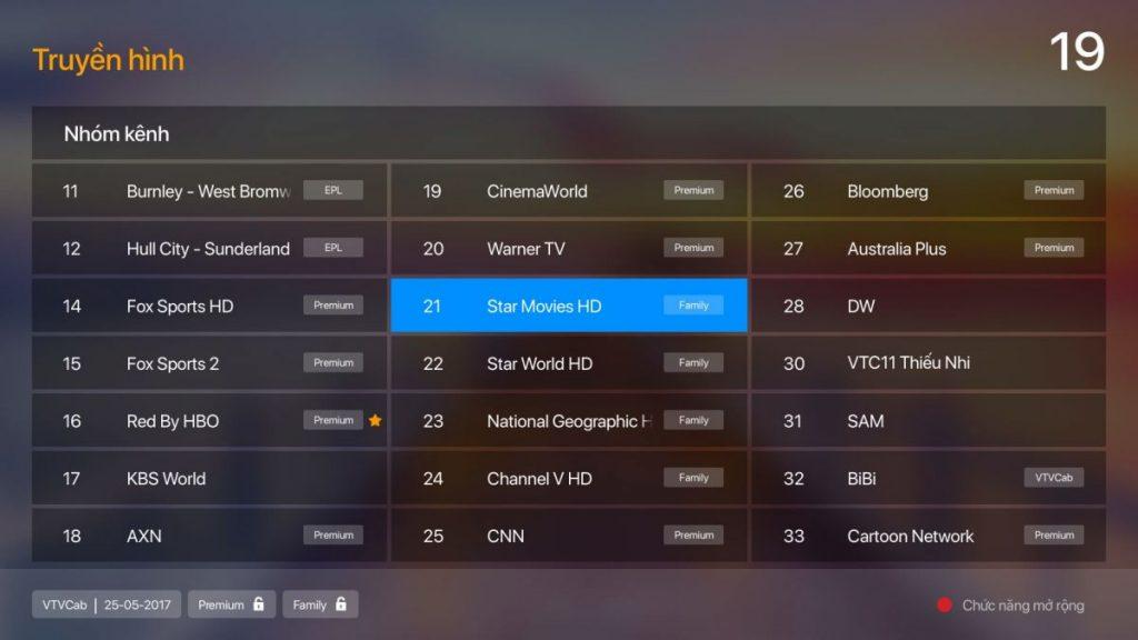 Lựa chọn bất kỳ kênh truyền hình trong gói Premium hoặc Family