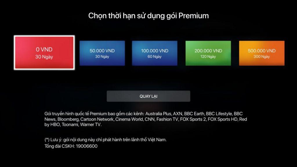 Bảng giá gói kênh cho khách hàng lựa chọn.