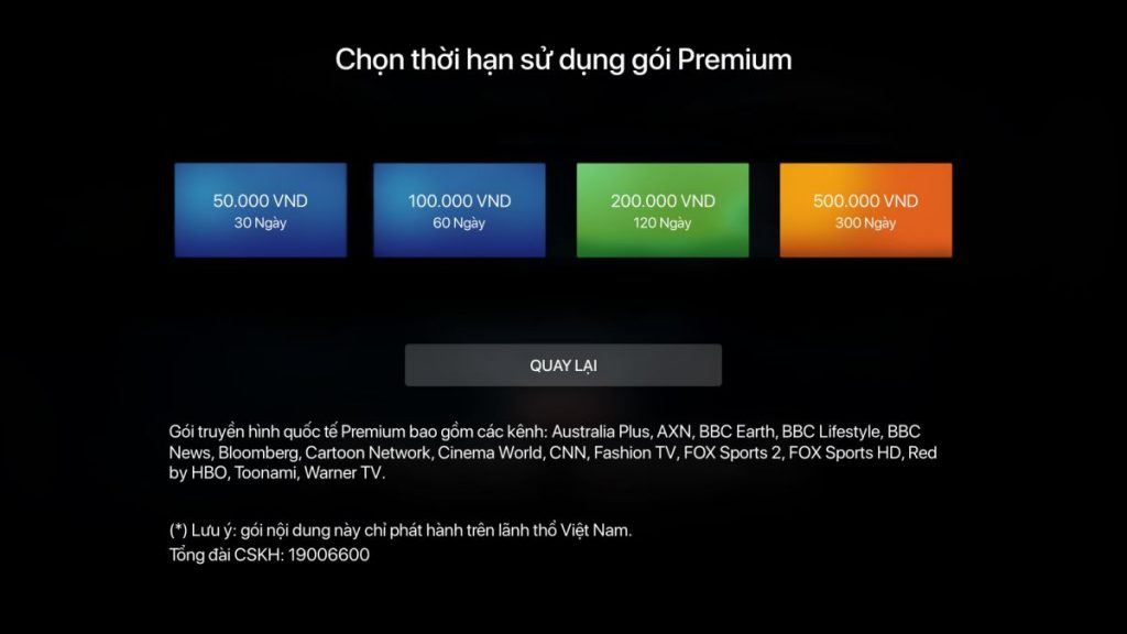 Gói kênh Quốc tế Premium