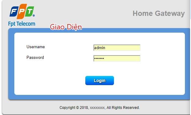 Mành hình đăng nhập http://192.168.1.1