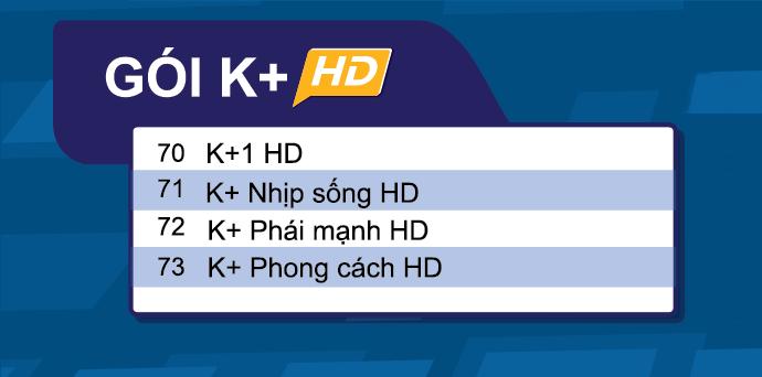Danh sách gói K+ truyền hình FPT